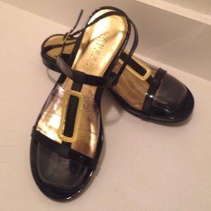 Ralph Lauren black patent leather sandals